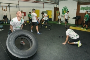 Sesión de entrenamiento físico del Sporting de Portugal.