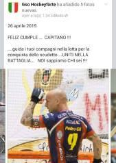 Felicitación al capitán en el facebook de GSO Forte dei Marmi